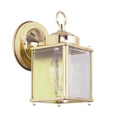 Furey 1-Light Polished Brass Outdoor Wall Lantern