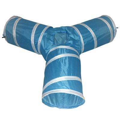 Blue 3-Way Kitting-Go-Seek Interactive Collapsible Passage Kitty Cat Tunnel