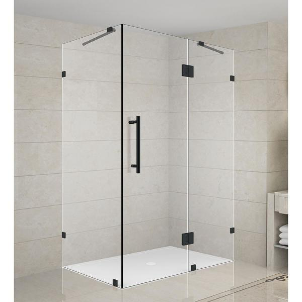 Aston Avalux 48 In X 30 In X 72 In Frameless Corner Hinged Shower Enclosure In Matte Black Sen987 Mb 4830 10 The Home Depot