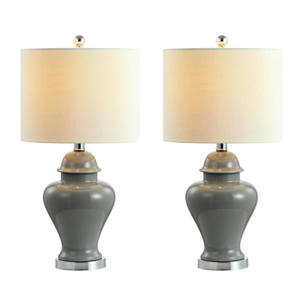 Qin 22 in. Ceramic/Iron Classic Cottage LED Table Lamp, Gray