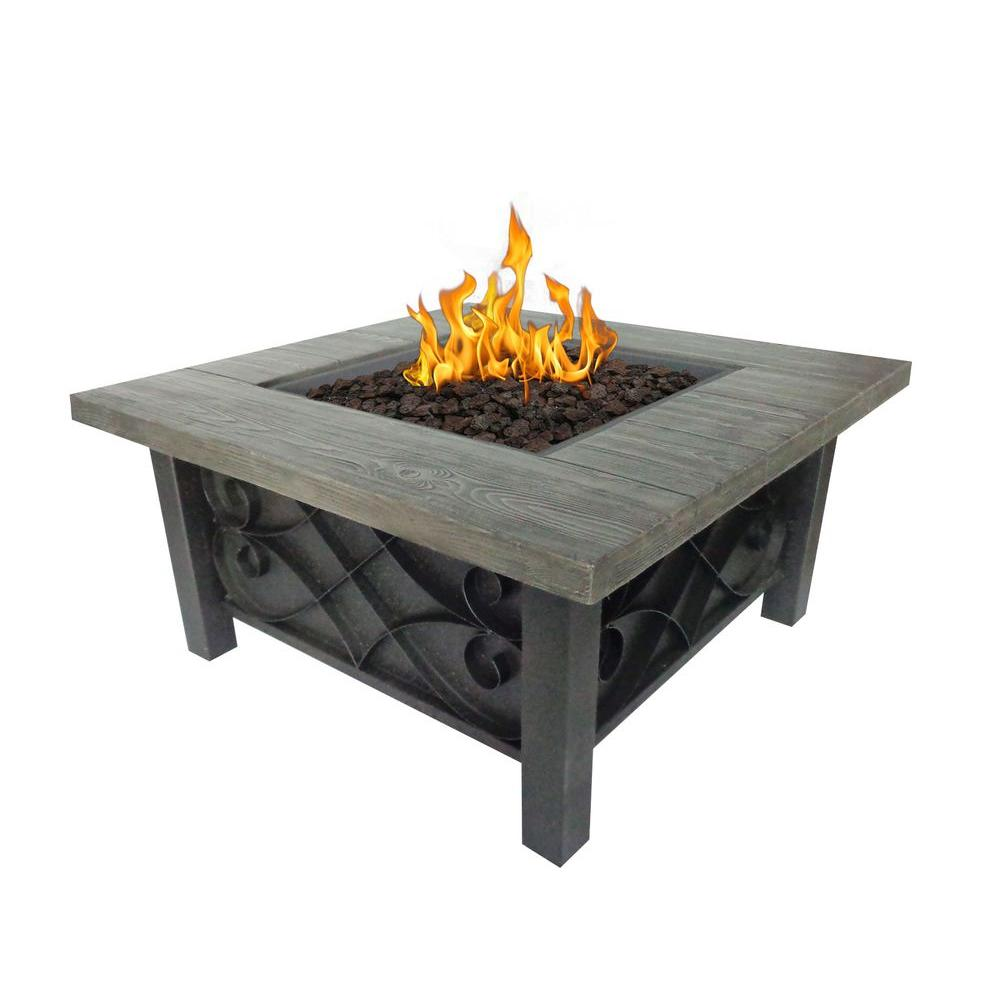 Bond Manufacturing Marbella 34 in. Square Stainless Steel Propane Fire Pit