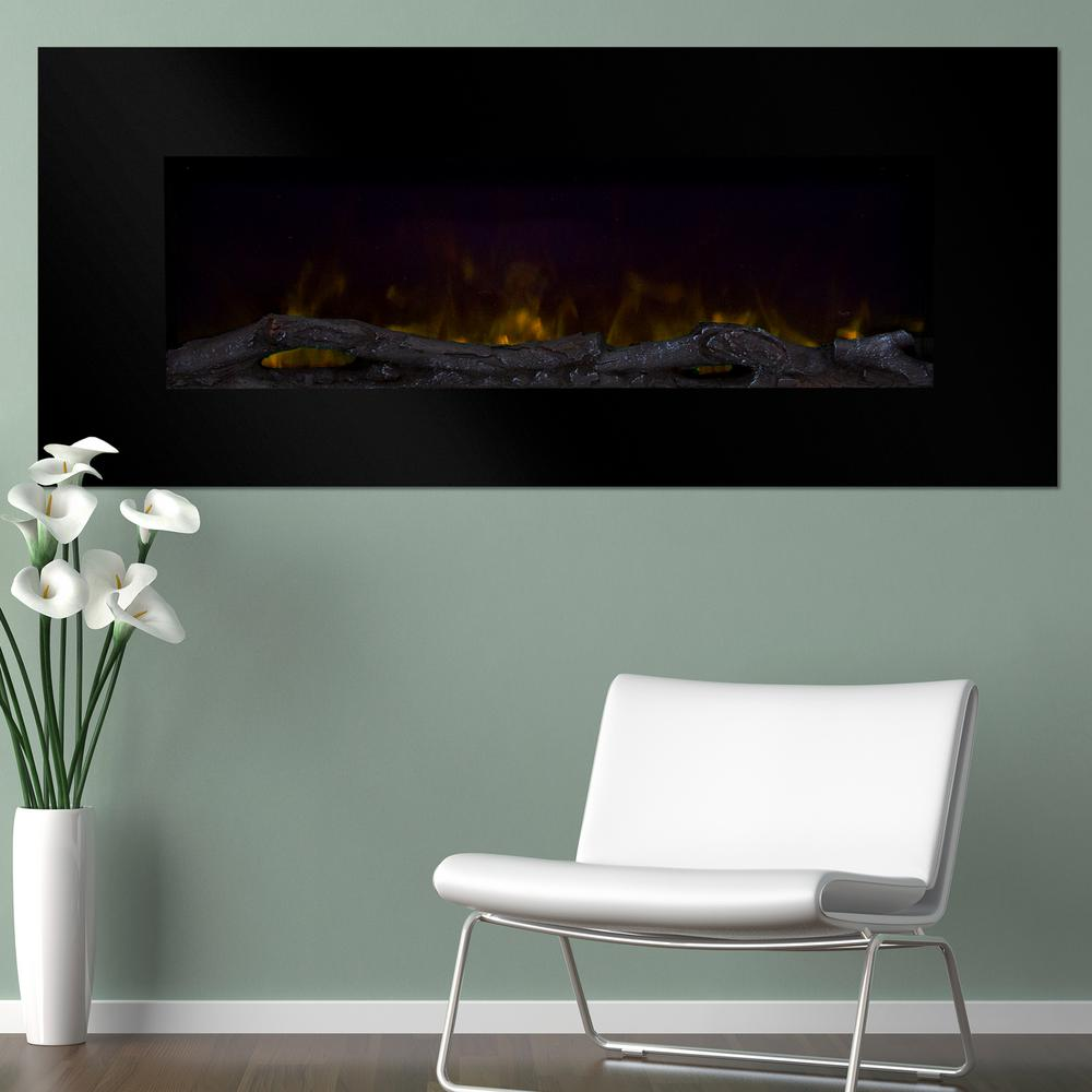 50 in. Wall-Mount Color Changing LED Electric Fireplace in Black