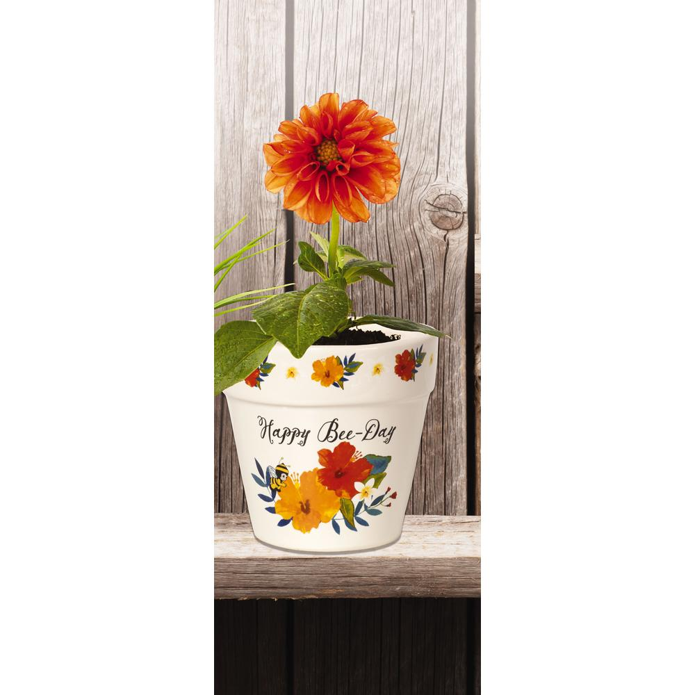 Floral 4 in. Dia Happy Bee-Day White Ceramic Flower Pot
