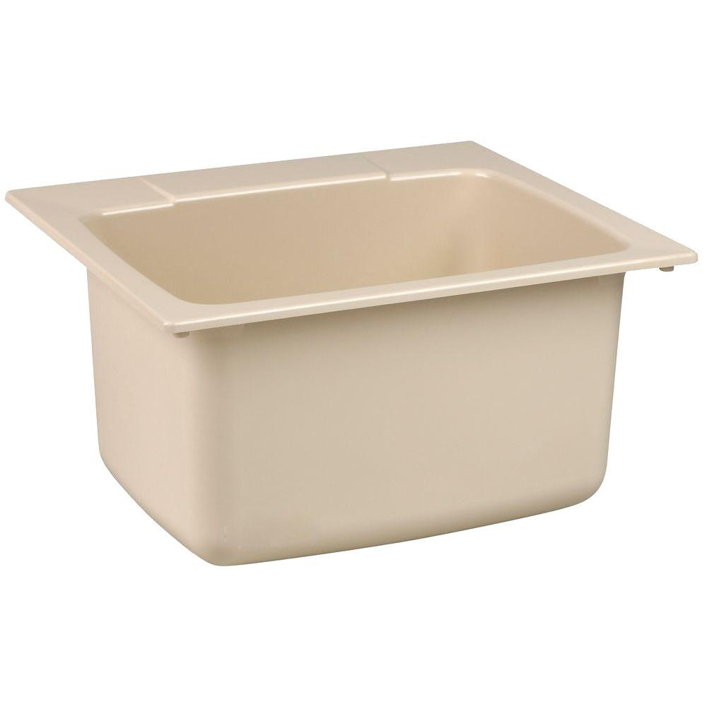 MUSTEE 22 in. x 25 in. Fiberglass Self-Rimming Utility Sink in Bone (Ivory)
