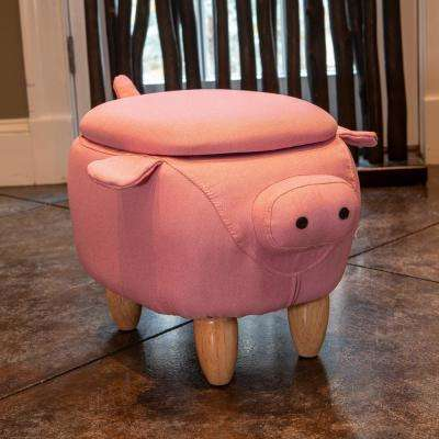 15 in. Pink Pig Storage Stool