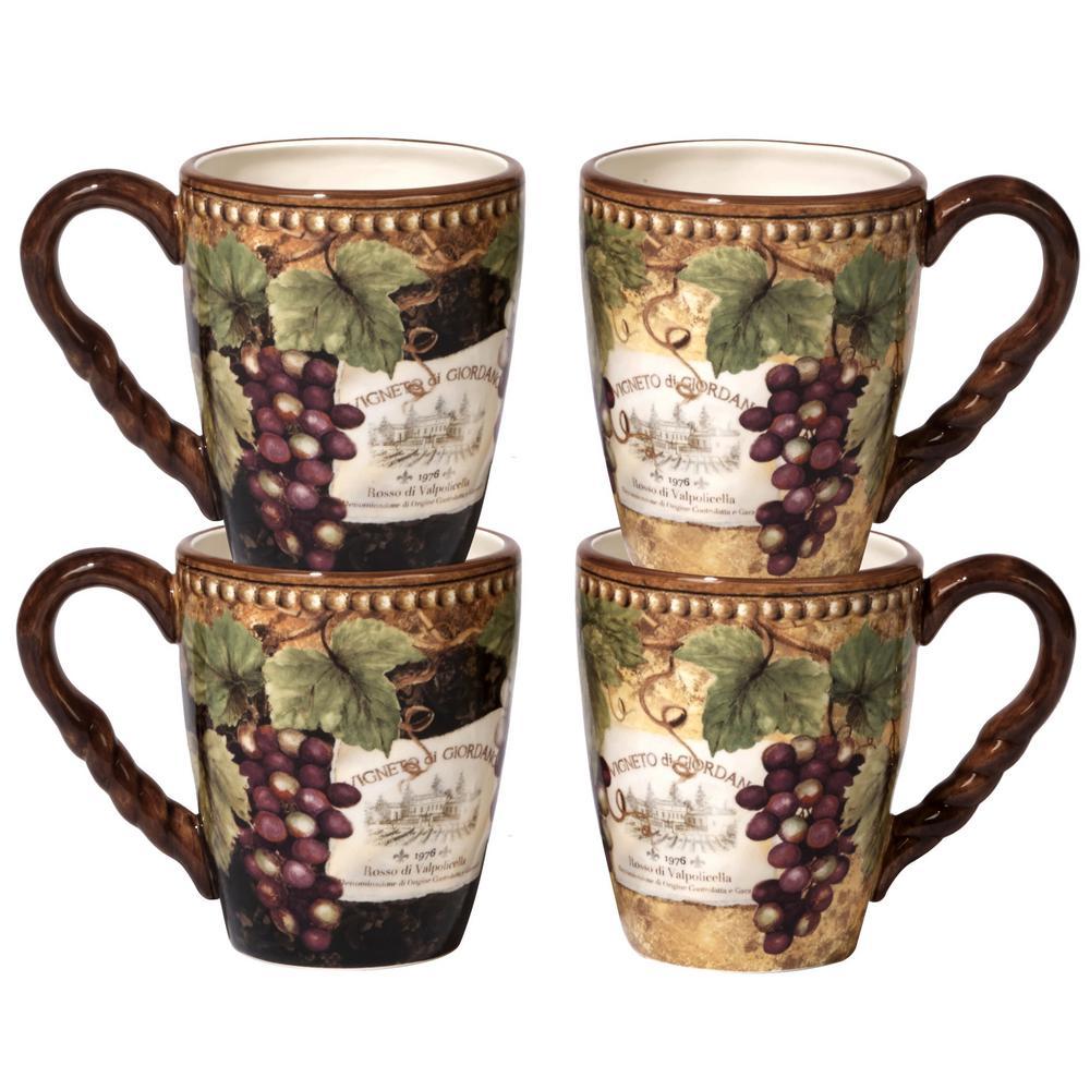 Gilded Wine 20 oz. Multi-Colored Ceramic Mugs (Set of 4)