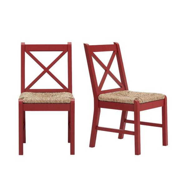 Dorsey Mason Red Wood Dining Chair with Cross Back and Rush Seat (Set of 2) (17.72 in. W x 35.43 in. H)