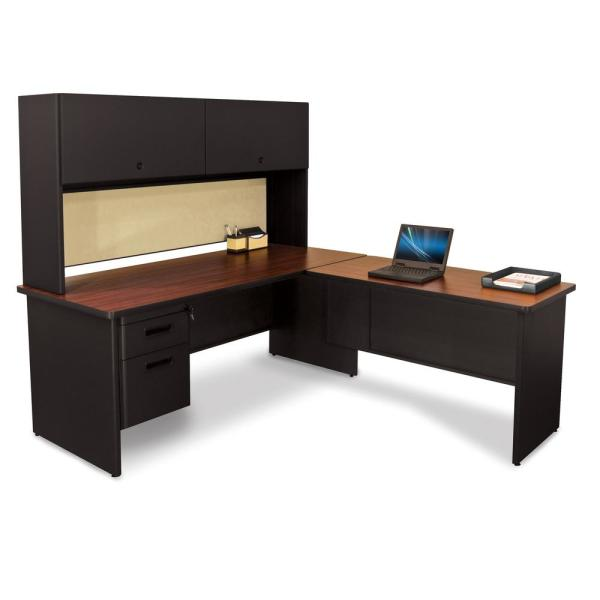 undefined 72 in. W x 78 in. D Black, Mahogany and Beryl Desk with Return