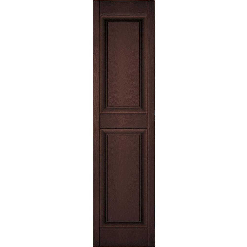 Ekena Millwork 18 in. x 85 in. Lifetime Vinyl Custom 2 Equal Raised Panel Shutters Pair Federal Brown