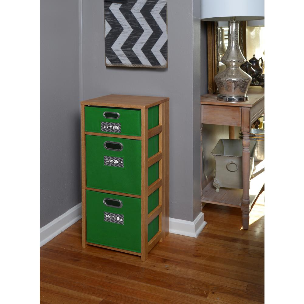 Flip Flop Medium Oak and Green 3-Shelf Folding Bookcase and Storage