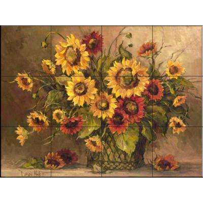 Sunflower Bouquet 17 in. x 12-3/4 in. Ceramic Mural Wall Tile