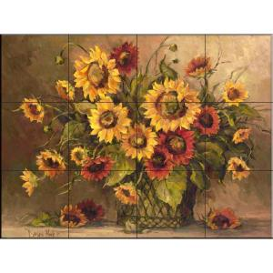 The Tile Mural Store Sunflower Bouquet 24 In X 18 In