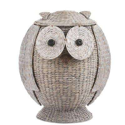 Owl 23.25 in. H x 19.25 in. W Grey Hamper with Removable Lid