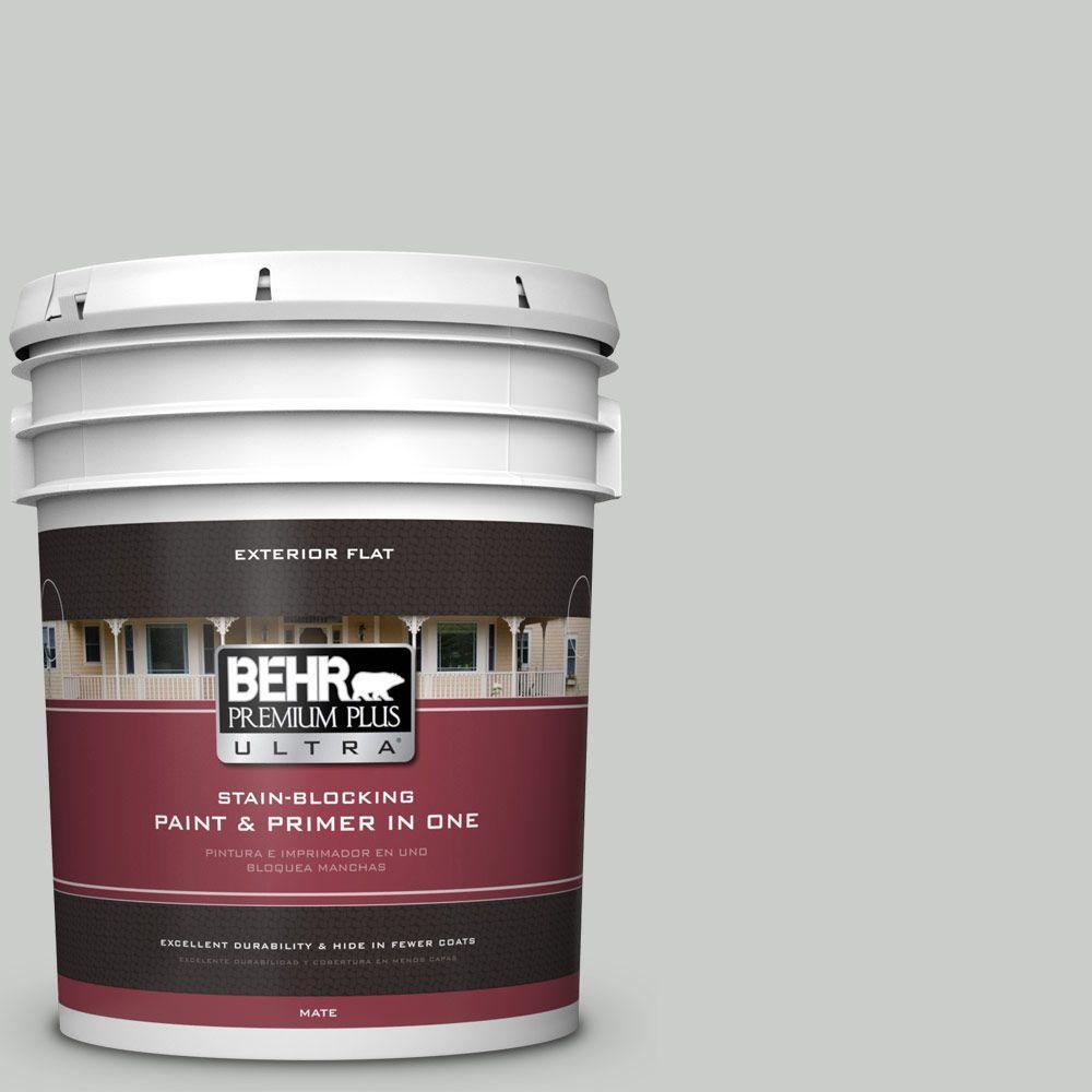 BEHR Premium Plus Ultra 5-gal. #PWL-89 Silver Setting Flat Exterior Paint