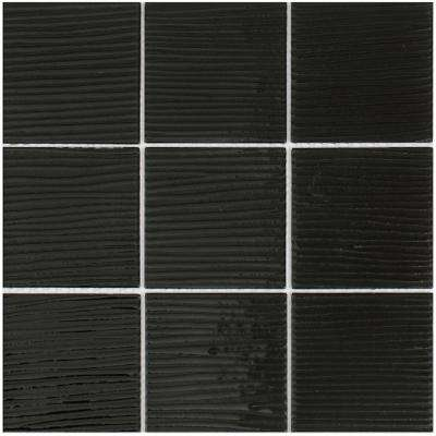 Shilla/01, Shiny Black Glass with Brushed Texture, 12 in. x 12 in. x 4 mm Glass Mesh-Mounted Tile (20 sq. ft. / case)
