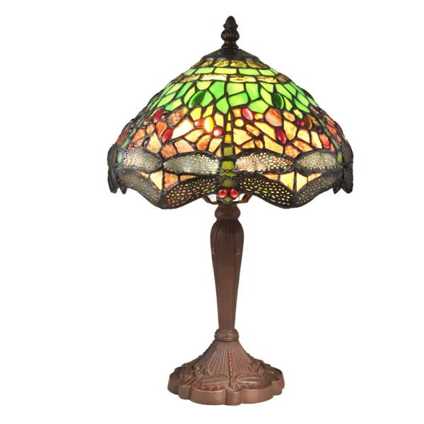 Zelena Dragonfly 15.5 in. Antique Bronze Table Lamp with Hand Rolled Art Glass Shade