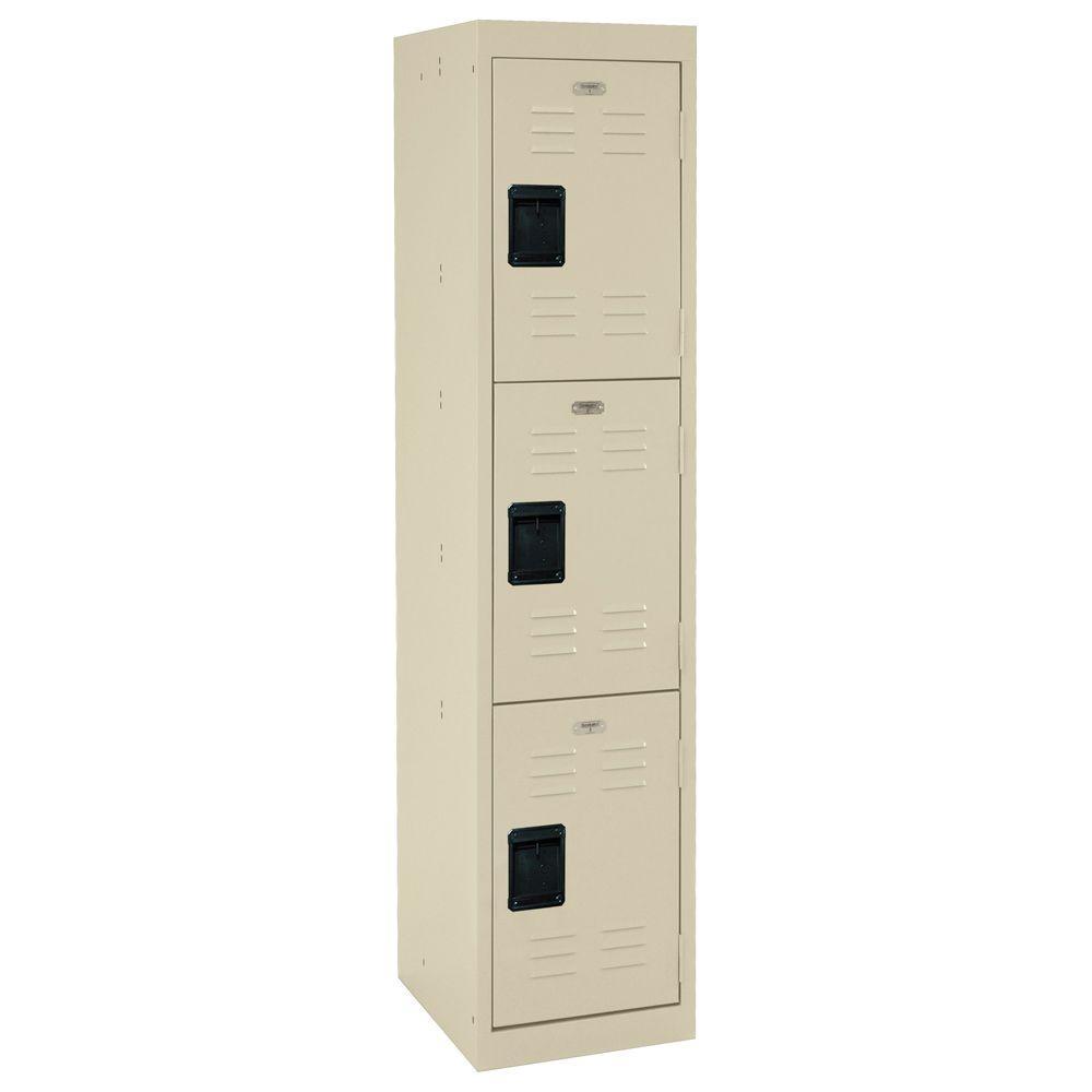 66 in. H x 15 in. W x 18 in. D 3-Tier Welded Steel Storage Locker in Putty