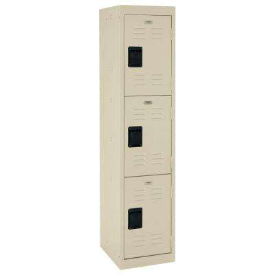 66 in. H x 15 in. W x 18 in. D 3-Tier Welded Steel Storage Locker in Putty