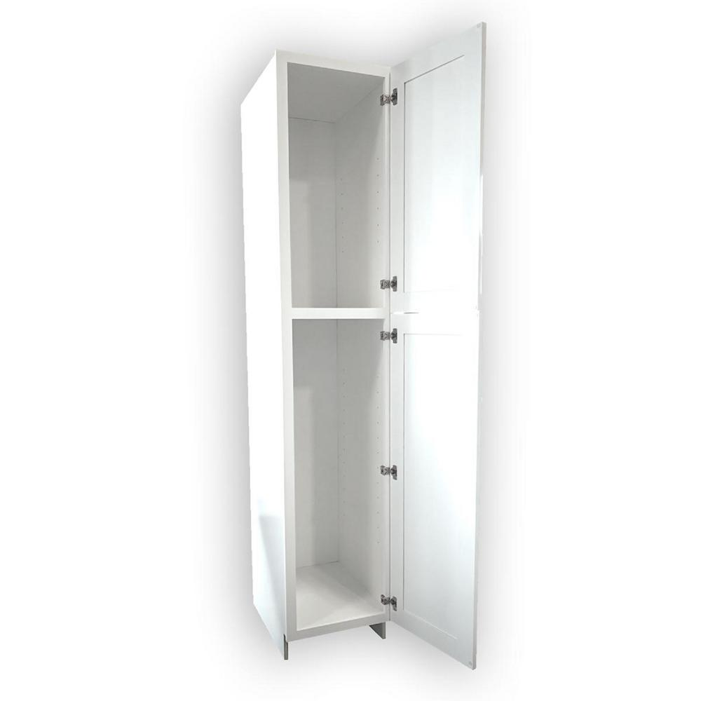 Plywell Ready To Assemble 18x96x24 In. Shaker 2-Door Wall Pantry With Shelves In White-SWxWP1896