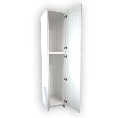 Plywell Ready to Assemble 18x96x24 in. Shaker 2-Door Wall Pantry with Shelves in White