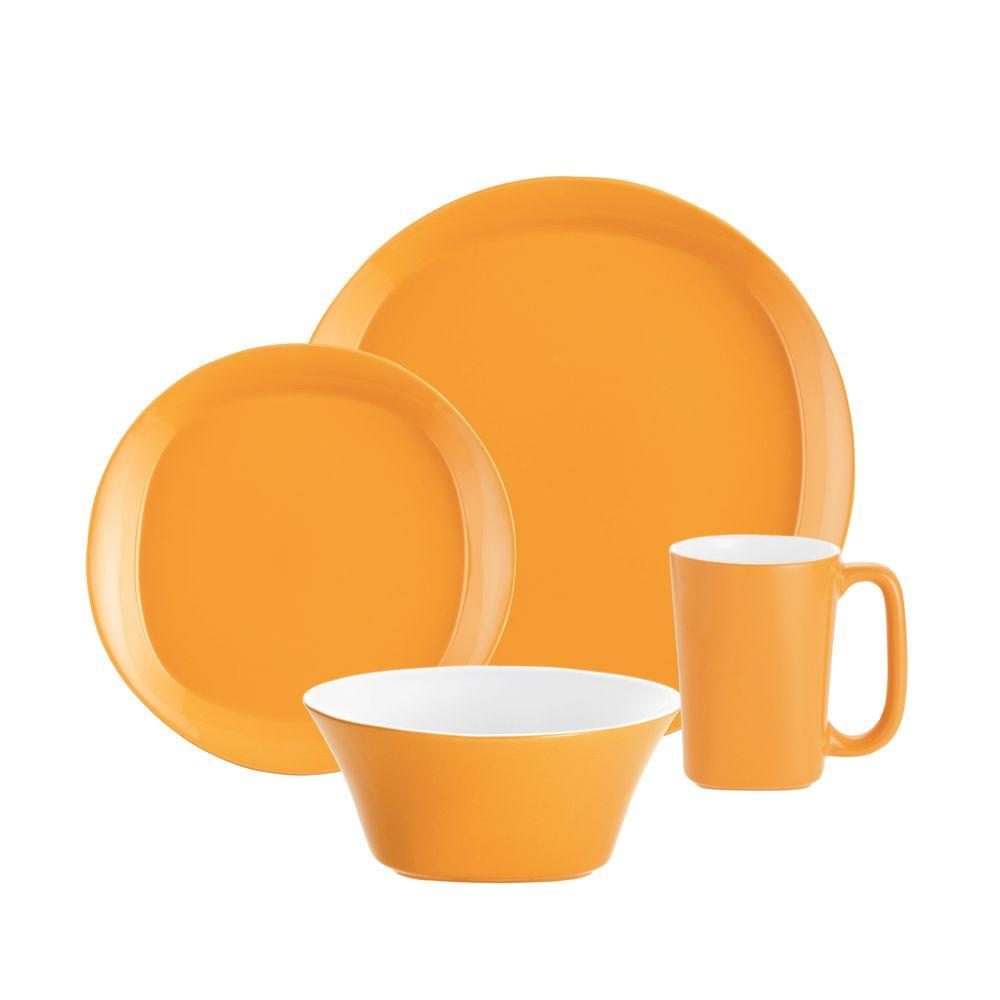 Rachael Ray Round and Square 16 Piece Dinnerware Set in Lemon Zest