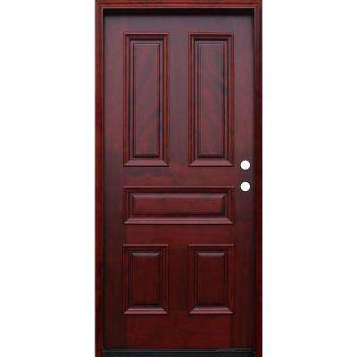 Traditional 5-Panel Stained Mahogany Wood Prehung Front Door with 6 in. Wall Series