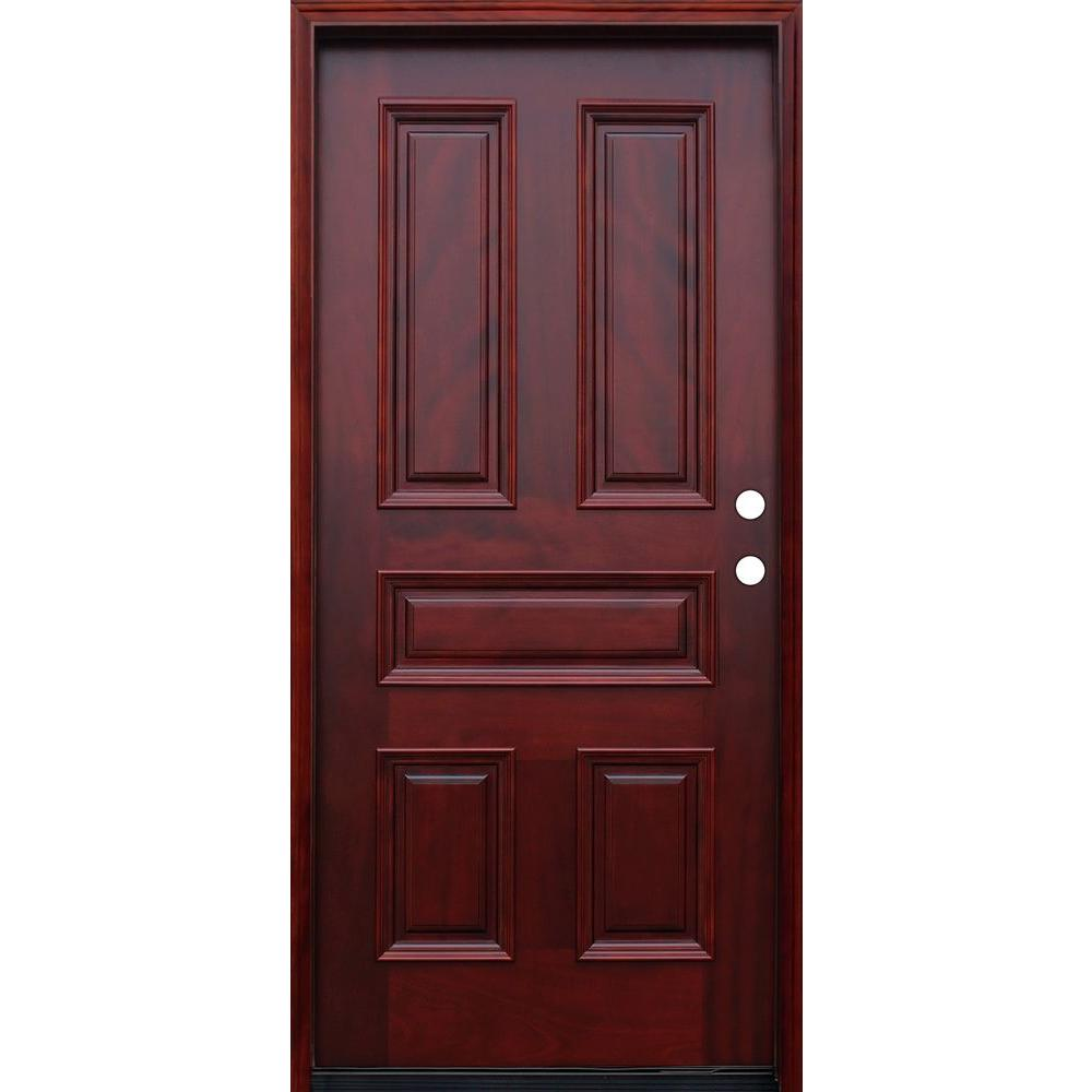 Pacific entries 36 in x 80 in traditional 5 panel for Home depot front doors wood
