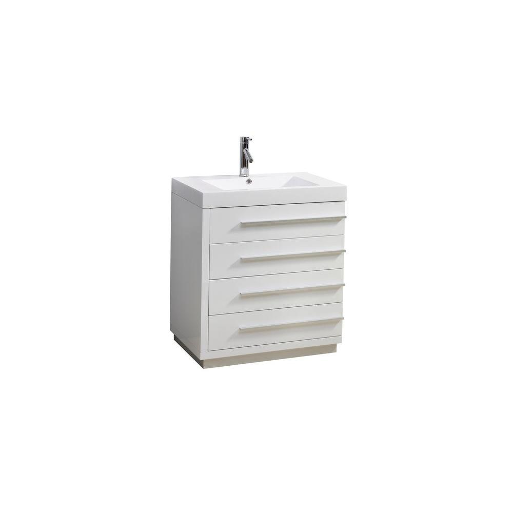Virtu USA Bailey 30 in. W Single Sink Bathroom Vanity in Gloss White with Poly-Marble Vanity Top in White with White Basin