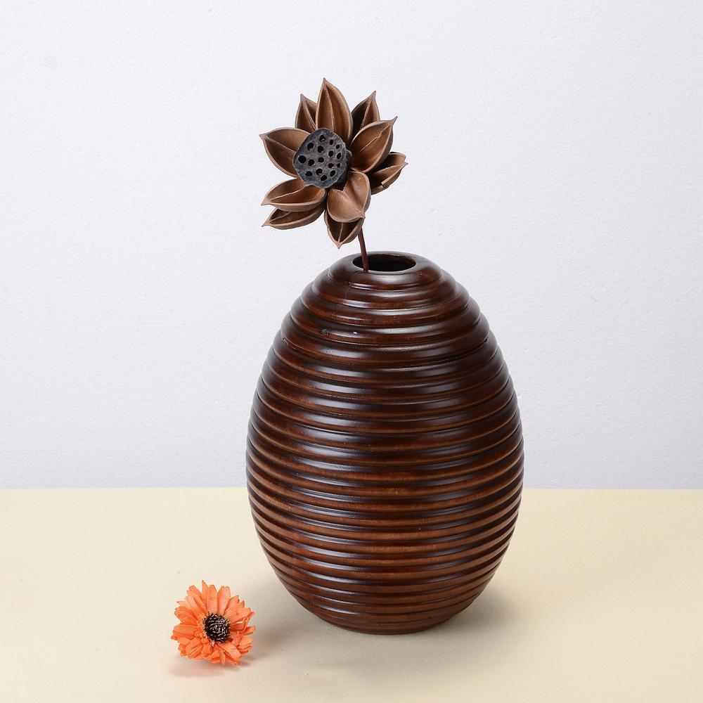 10 in. x 8 in. Handmade Decorative Mango Wood Ripple Vase in Brown