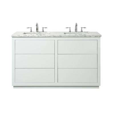 Lang 56 in. Bath Vanity in White with White Marble Vanity Top in White with White Basin