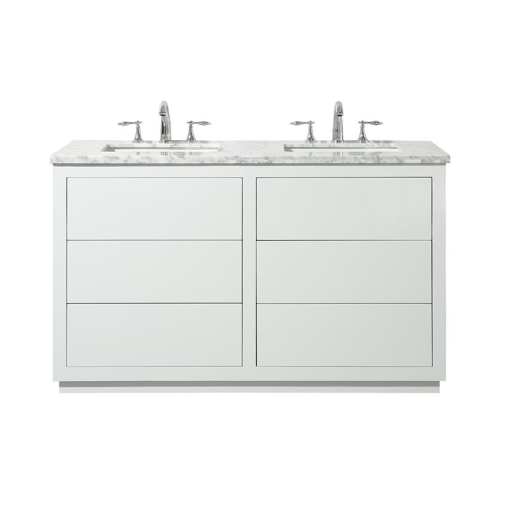 Stufurhome Lang 56 In Bath Vanity White With Marble Top