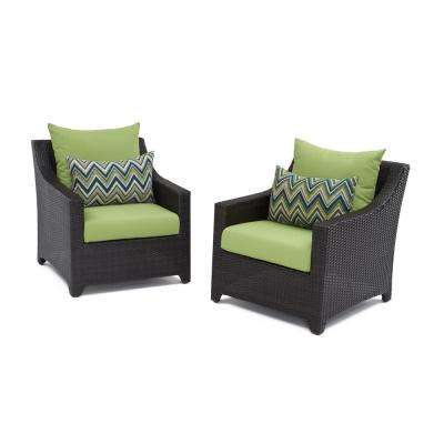 Deco Patio Club Chair with Gingko Green Cushions (2-Pack)