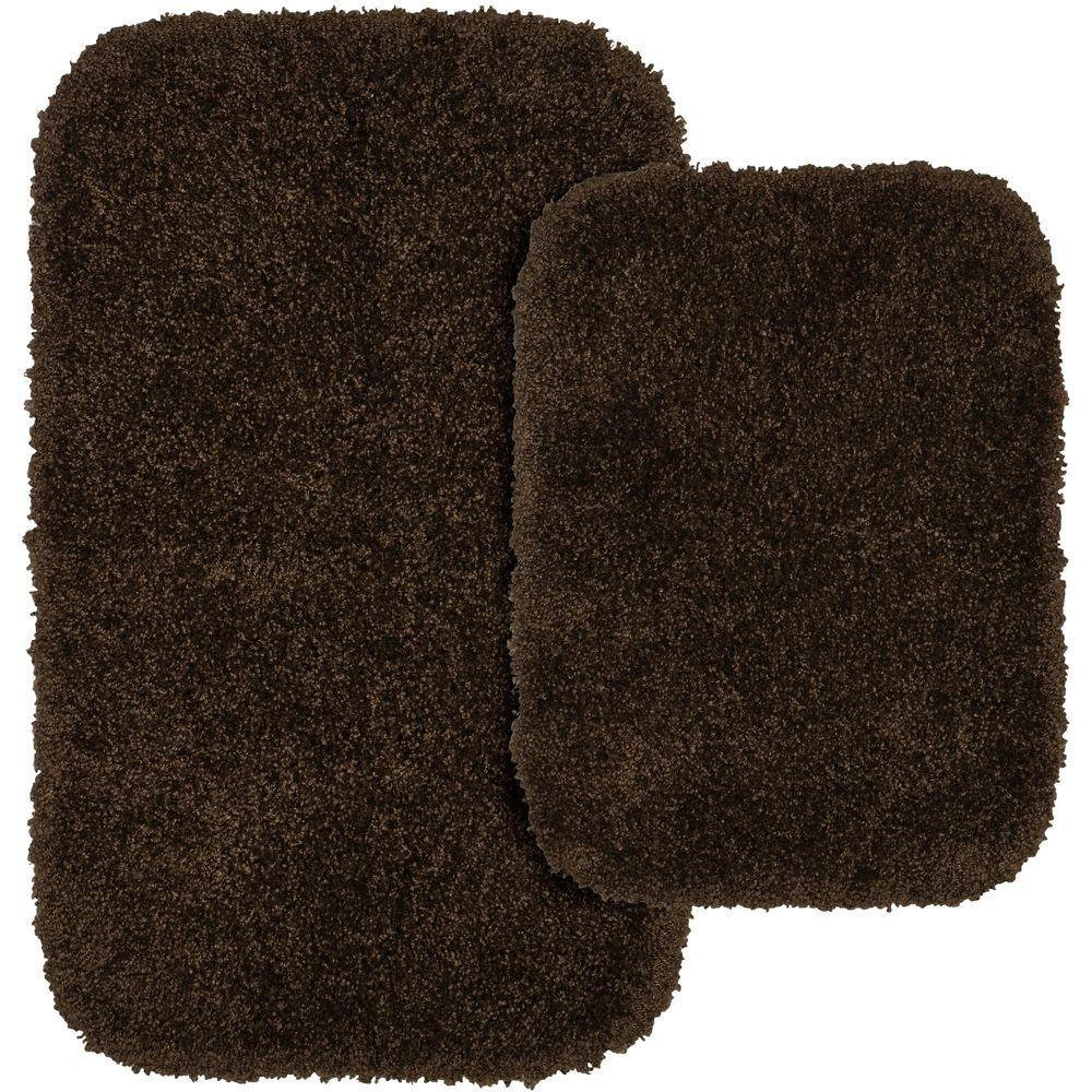 Serendipity Chocolate (Brown) 21 in. x 34 in. Washable Bathroom 2-Piece Rug Set