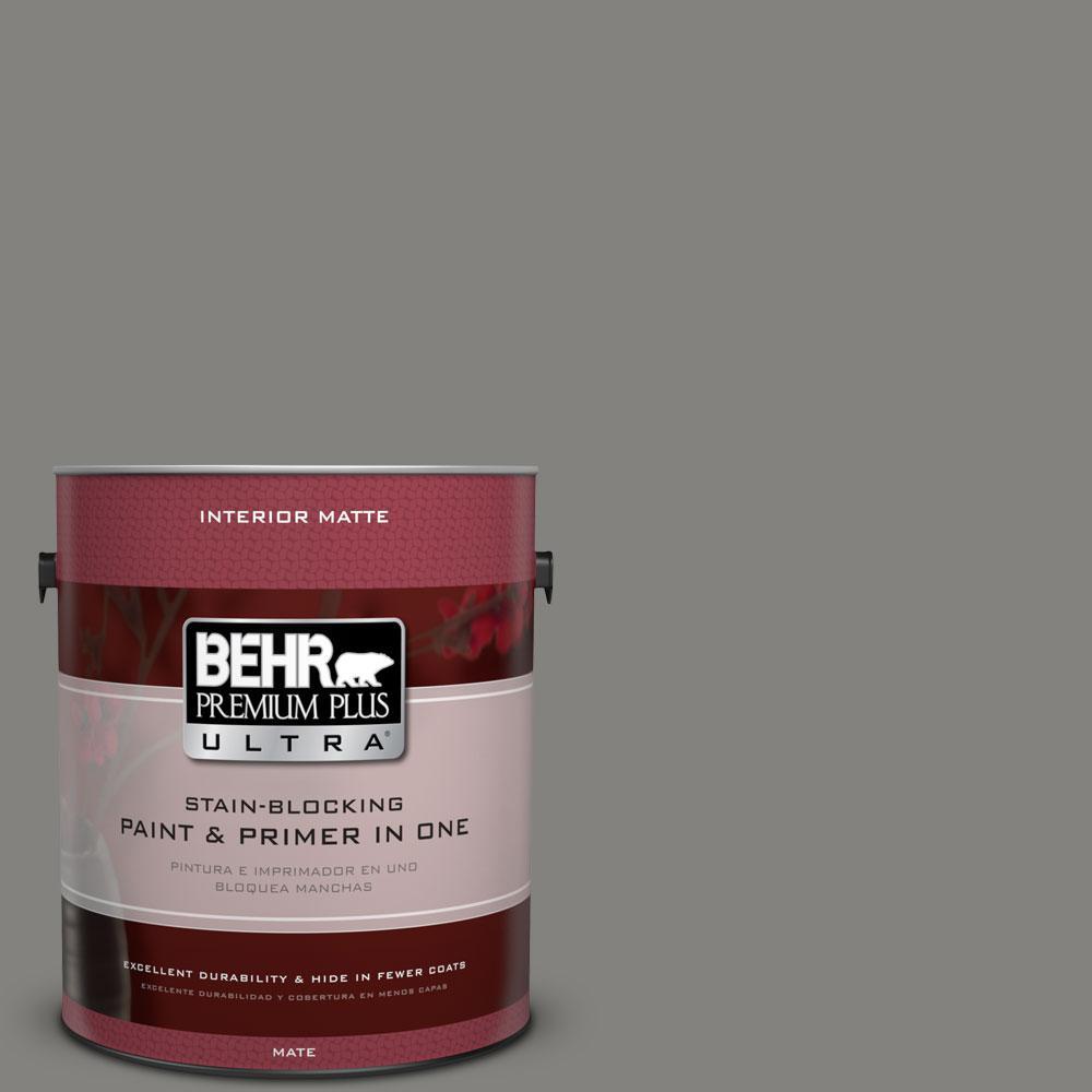 BEHR Premium Plus Ultra 1 gal. #BNC-25 Gray Pepper Matte Interior Paint
