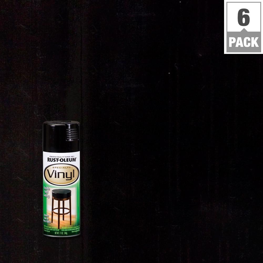 11 oz. Black Vinyl Spray Paint (6-Pack)
