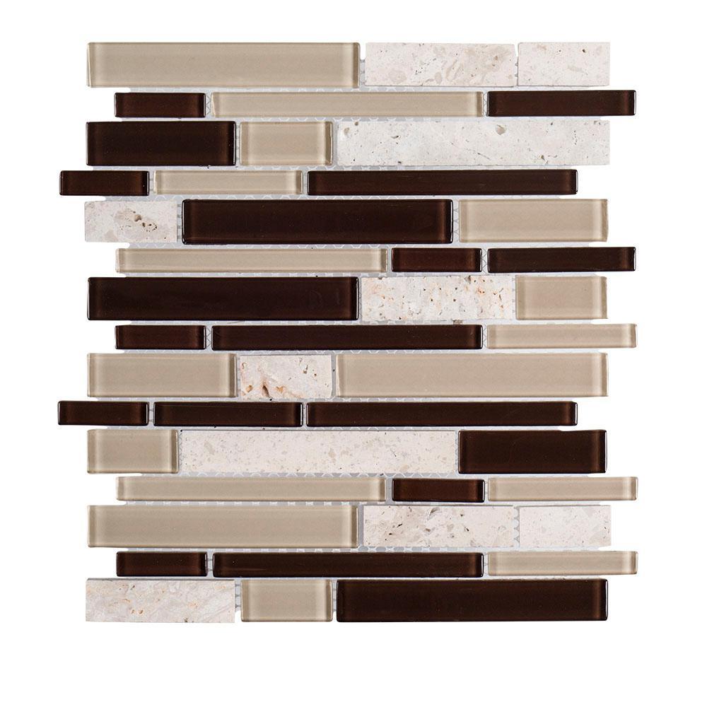 Malour Creek 10.625 Brown/Tan in. x 11.75 in. x 6 mm Interlocking Glass/Travertine Mosaic Tile