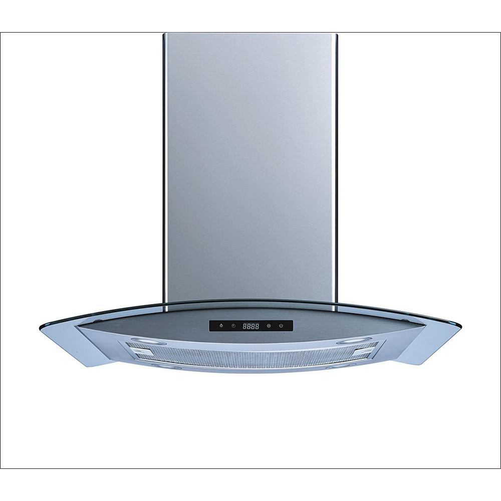Winflo 30 in. Convertible Island Mount Range Hood in Stainless Steel ...
