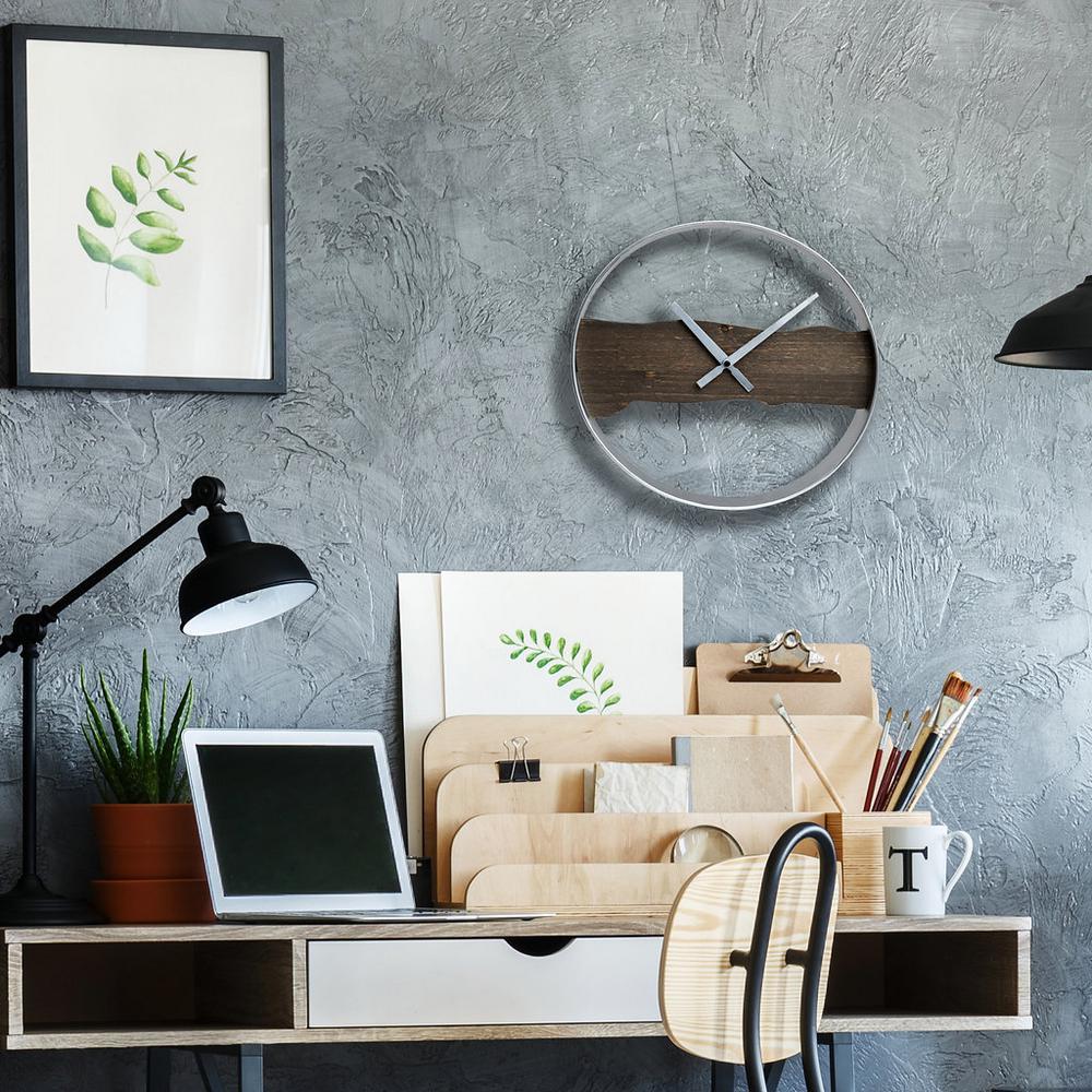 Pinnacle Raw Edged Wood and Metal Silver and Brown Wall Clock