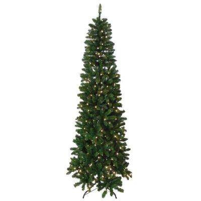 7.5 ft. Indoor Pre-Lit Slim Artificial Tree with Lights