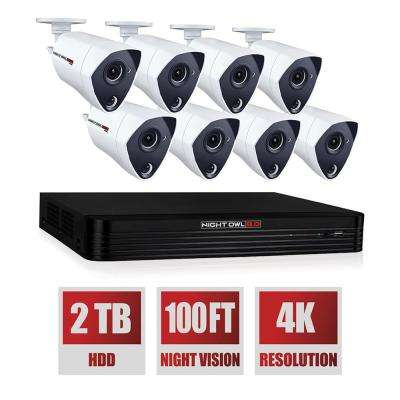 8-Channel 4K Ultra HD Wired Smart 2TB DVR Security System with 8 4K Ultra HD Wired Infrared Cameras