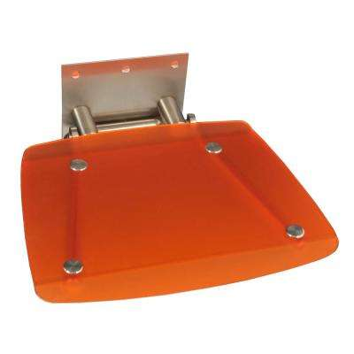 Modern Square 15-3/8 in. x 11-1/4 in. Fold-up Shower Seat in Orange
