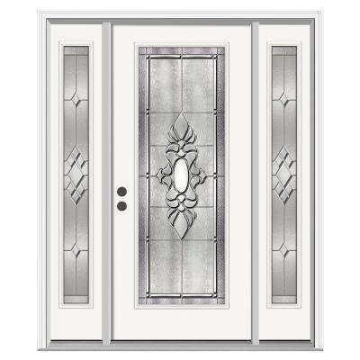 Langford Full Lite Primed Steel Prehung Front Door with 12 in. Side Lites and Nickel Caming