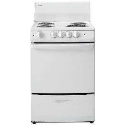 24 in. 3.0 cu. ft. Single Oven Electric Stove Easy Clean with 4-Removable Chrome Drip Bowls in White