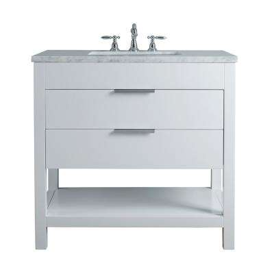 Rochester 36 in. White Single Sink Bathroom Vanity with Marble Vanity Top and White Basin