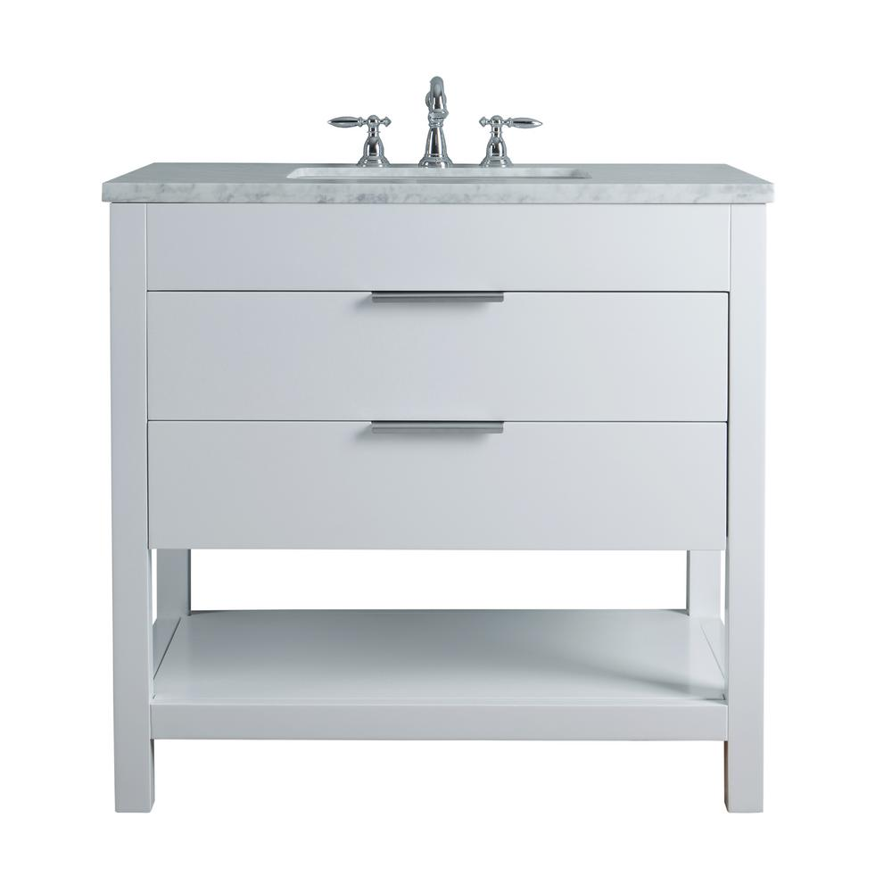 White Single Sink Bathroom Vanity With Marble Vanity Top And White  Basin HD 1617W 36 CR   The Home Depot