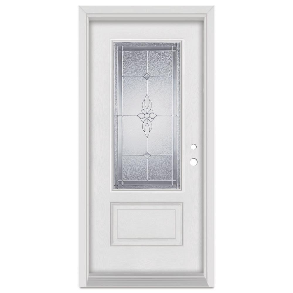 Stanley Doors 33.375 in. x 83 in. Victoria Left-Hand Zinc Finished Fiberglass Mahogany Woodgrain Prehung Front Door Brickmould