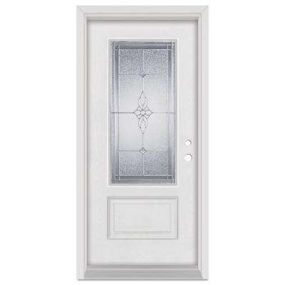 33.375 in. x 83 in. Victoria Left-Hand Zinc Finished Fiberglass Mahogany Woodgrain Prehung Front Door Brickmould