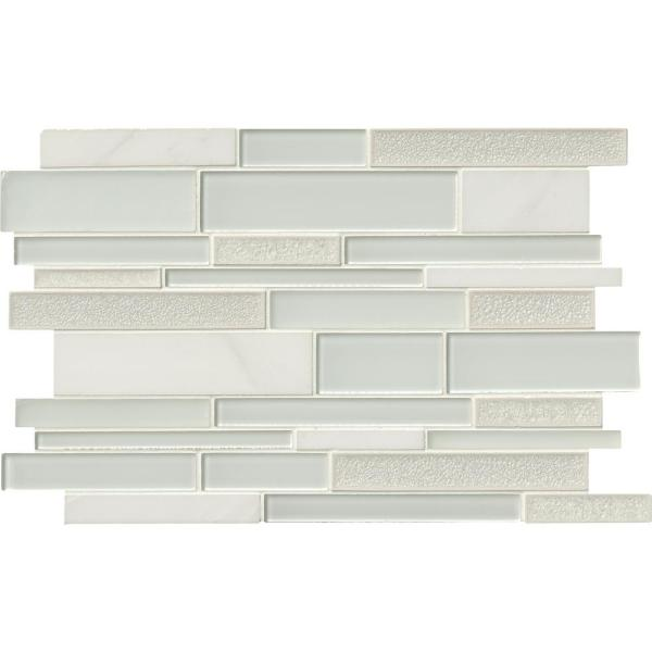 Fantasia Blanco Interlocking 12 in. x 18 in. x 8mm Glass and Stone Mesh-Mounted Mosaic Tile (15 sq. ft. / case)