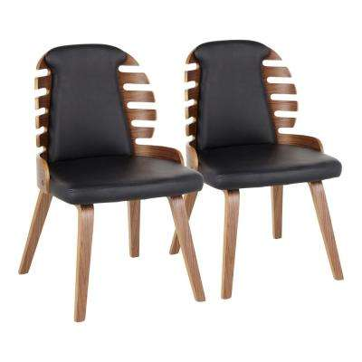 Palm Walnut Wood and Black Faux Leather Dining Chairs (Set of 2)