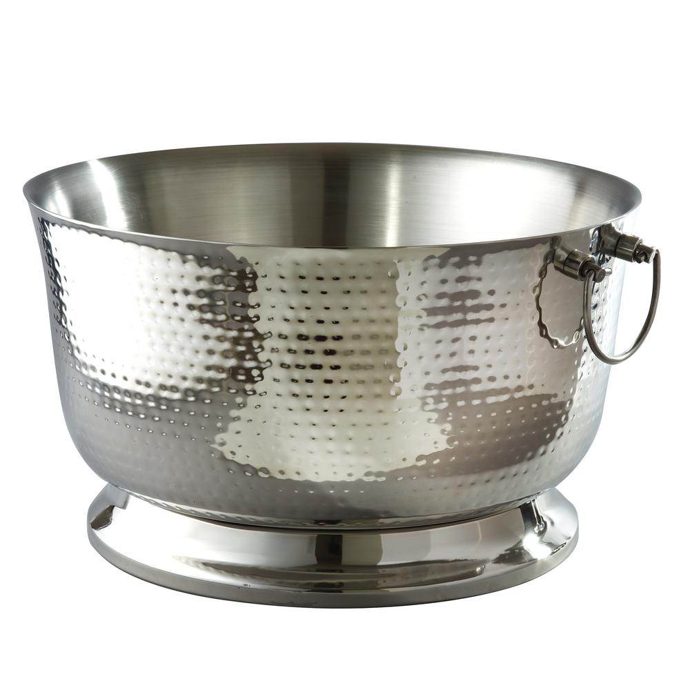 5.75 Gal. Hammered Stainless Steel Party Tub with Double Wall Insulation